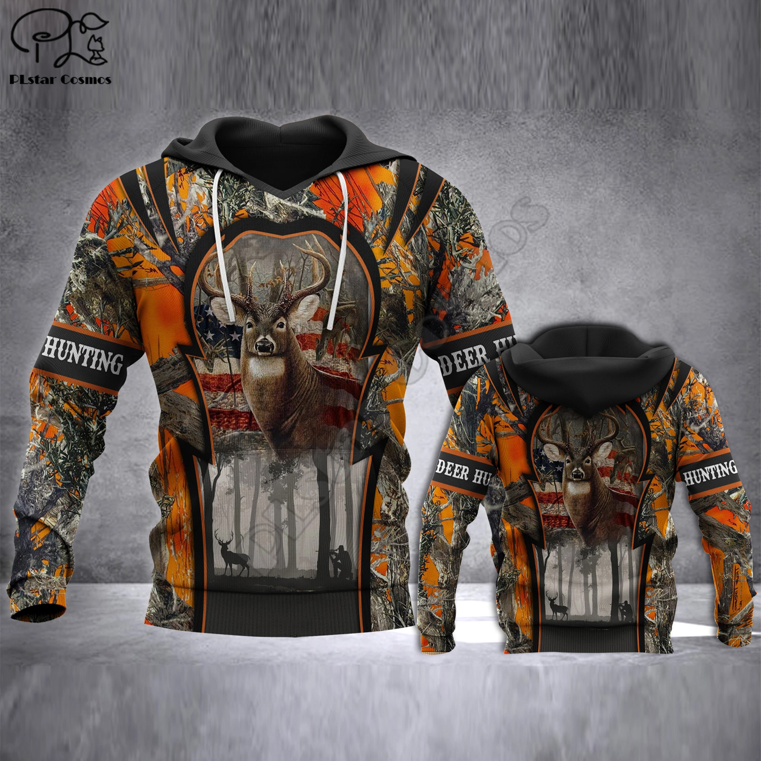 deer hunting printed <font><b>3d</b></font> <font><b>hoodies</b></font> <font><b>Unisex</b></font> <font><b>hoodies</b></font> Harajuku Fashion Casual Hooded Sweatshirt Drop shipping image