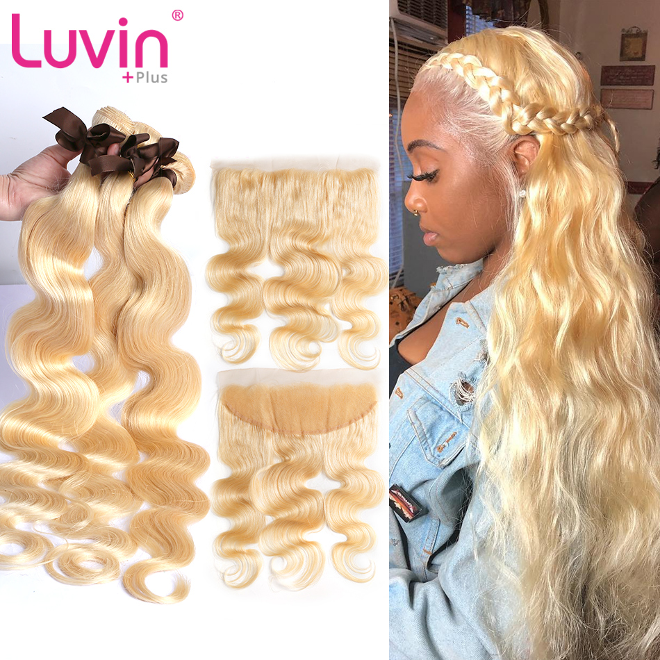 Luvin 613 Blonde Bundles With Frontal Brazilian Body Wave Remy Human Hair Blonde Bundles With  Lace Frontal Closure