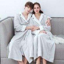 Kış kalın sıcak severler Kimono bornoz kıyafeti çiftler yumuşak pazen pijama büyük uzun gecelik sıcak mercan polar bornoz