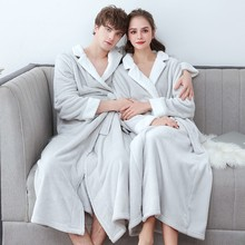 Winter Thick Warm Lovers Kimono Bath Robe Gown Couples Soft Flannel Sleepwear Large Long Nightgown Hot Coral Fleece Bathrobe