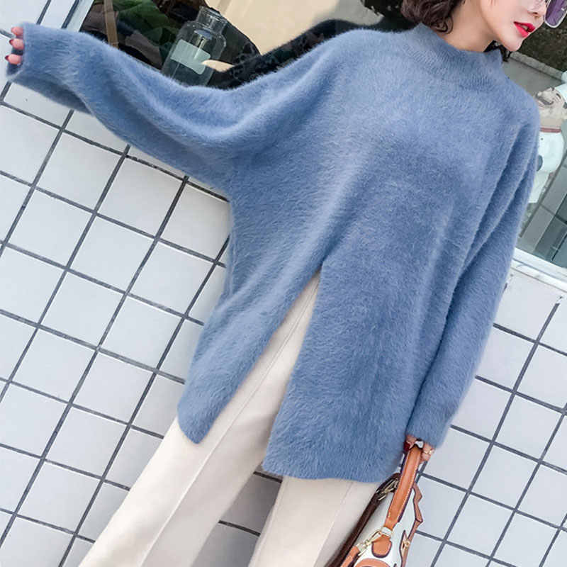 2019 Winter autumn Korean casual soft Women sweater pullovers Long-sleeve split-breasted velvet Sweater female Knitted Sweater