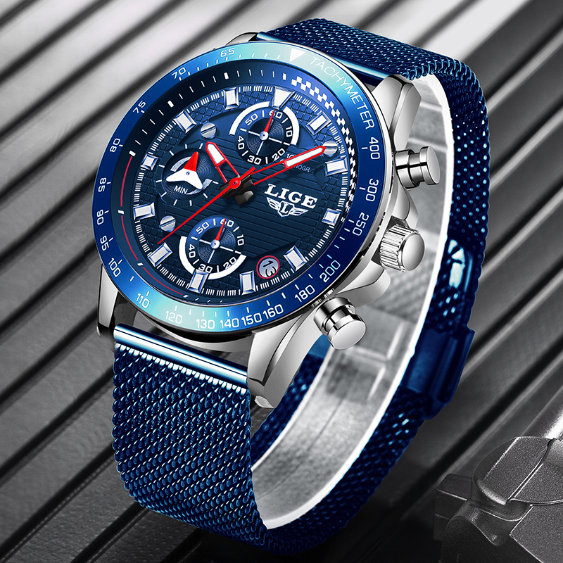 <font><b>LIGE</b></font> New Mens Watch Top Brand Luxury Sport Mesh Steel Waterproof Quartz Watch Mens Fashion Blue Date Chronograph Male Clock+Box image