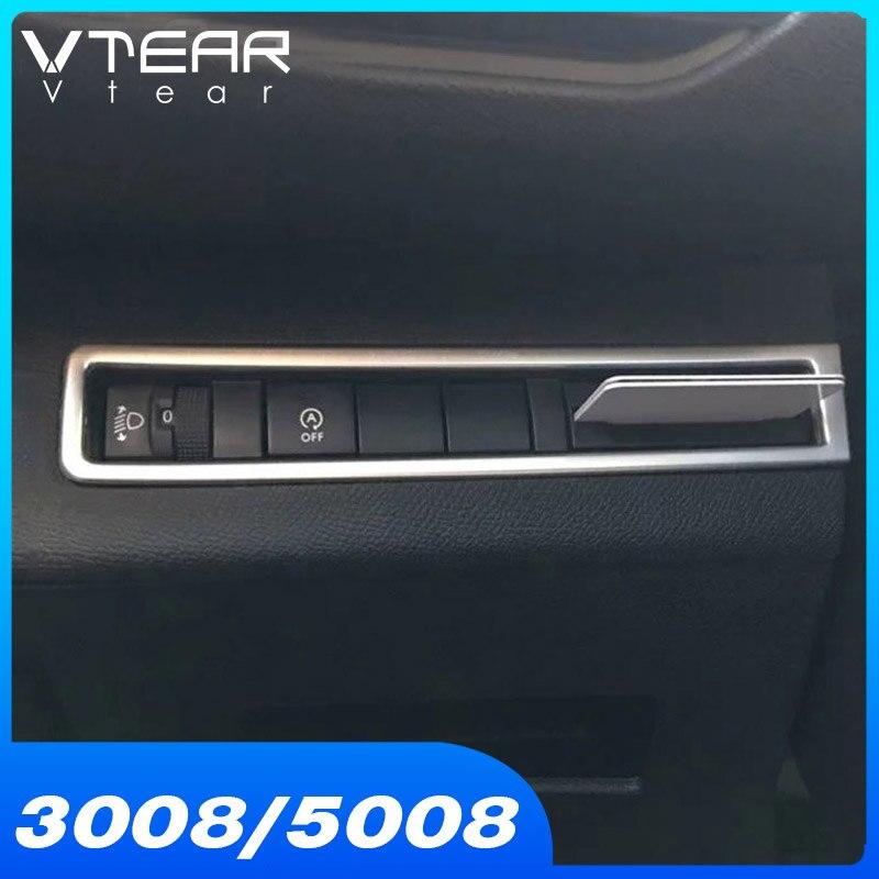 Vtear-accesorios para Peugeot 3008 GT 5008 GT, botón de ajuste Interior para la luz, embellecedor cromado ABS 2017 20018 2019 2020