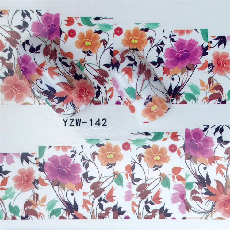 Cross Border For Nail Sticker YZW142 Flower Nail Sticker Environmentally Friendly Breathable Nail Sticker Currently Available Wh