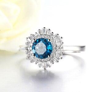 Image 2 - Kuololit londyński niebieski topaz szmaragd kamień pierścionki dla kobiet solidna biżuteria ze srebra próby 925 śnieg zaręczyny Ins stylowy prezent bożonarodzeniowy