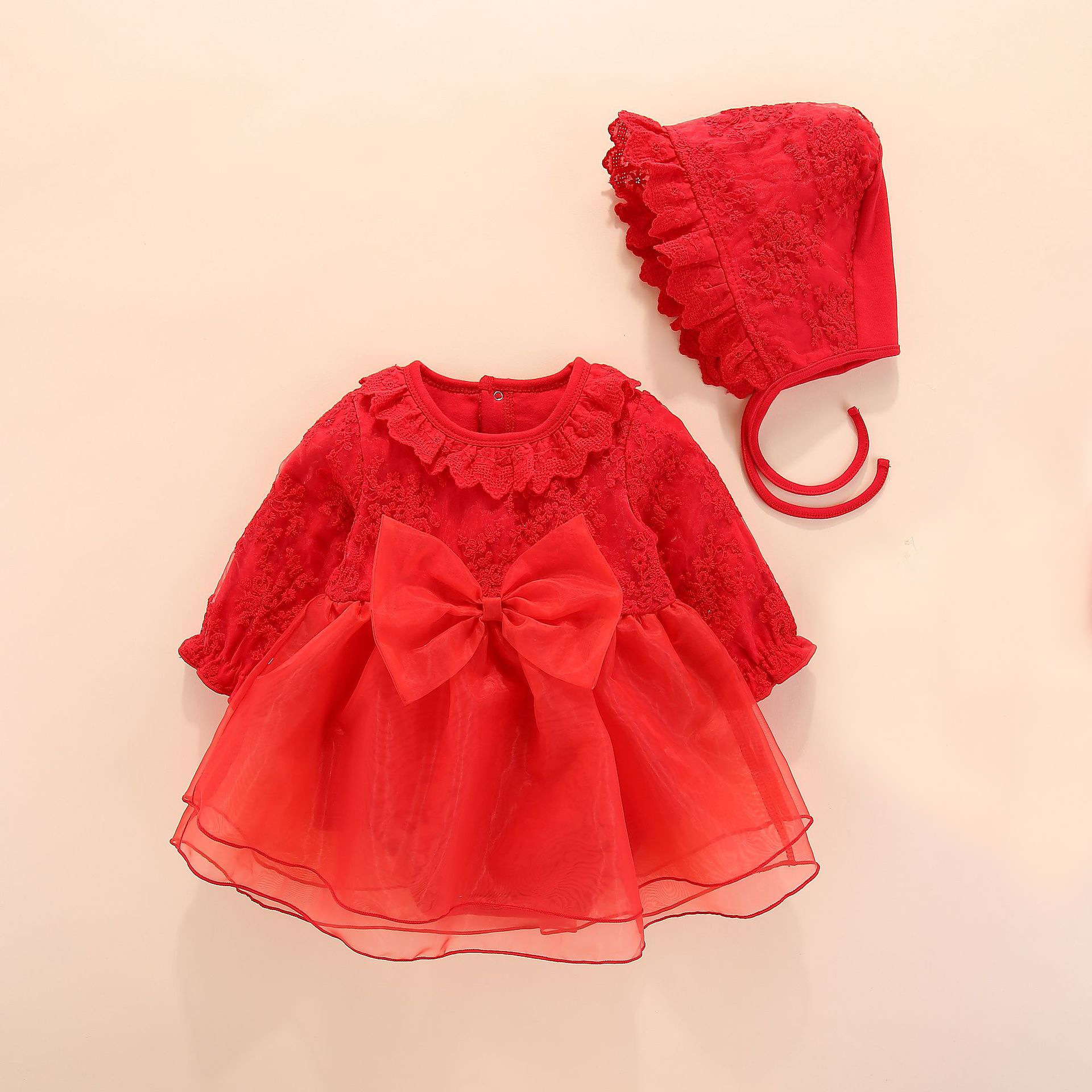 New Top Fashion Xmas <font><b>Long</b></font> <font><b>Sleeve</b></font> <font><b>Red</b></font> Pink Lace Romper <font><b>Dress</b></font> Newborn Baby <font><b>Girl</b></font> <font><b>Christmas</b></font> Sister Princess Kid Party Costume image