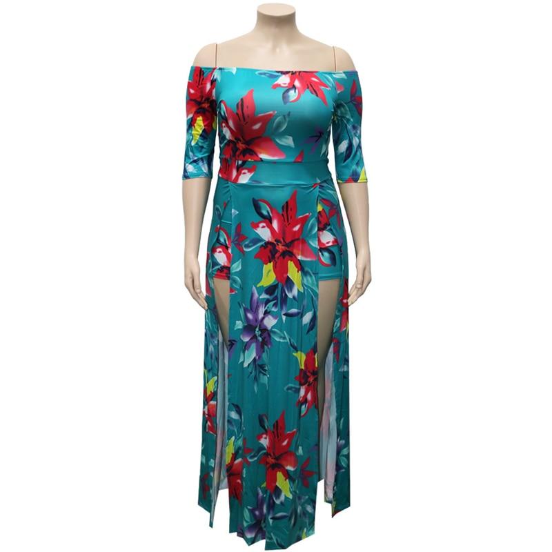 Robe d'été à fleurs pour femmes, taille haute, épaules dénudées, Maxi élégance, Sexy, fendu