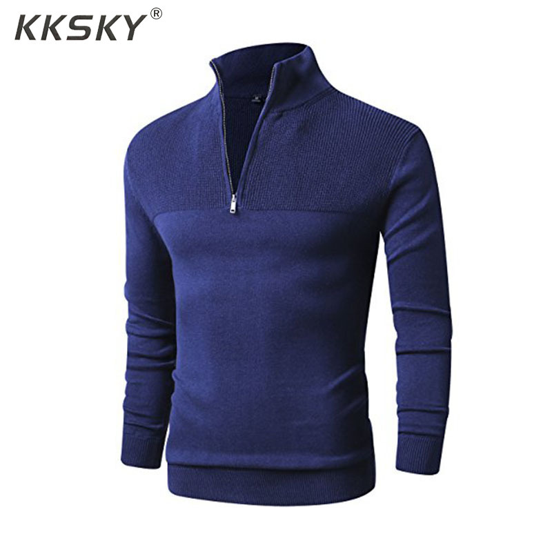 Mens Polo Sweater Slim Fit Zip Up Mock Neck Long Sleeve Sweater And Pullover Sweaters With Ribbing Edge Casual Pull Homme M-3XL