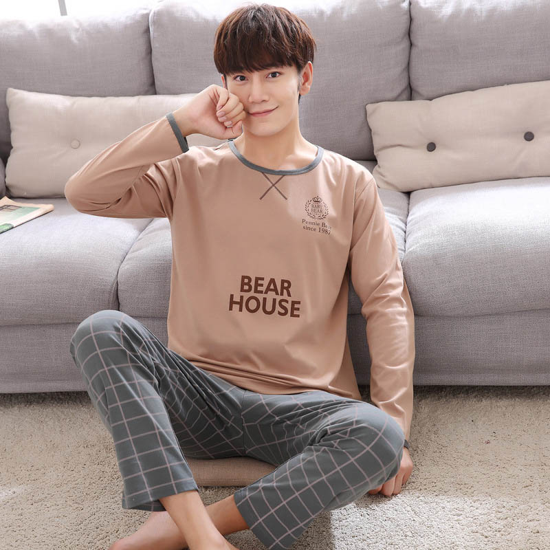 Autumn Winter Men's Cotton Pajamas Striped Sleepwear Pajama Sets Casual Sleep&Lounge Pyjamas