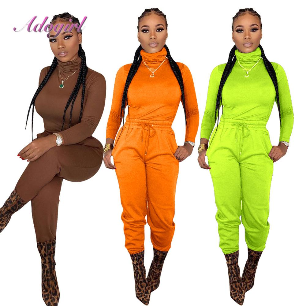 Women Soprtwear Two Piece Set Casual Solid Turtleneck Long Sleeve Slim T Shirt Tops Loose Long Pants Suit Outfit Tracksuit Set