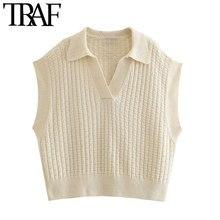 TRAF-suéter tejido tipo chaleco para mujer, moda de gran tamaño, cuello de solapa Vintage, sin mangas, Tops Chic