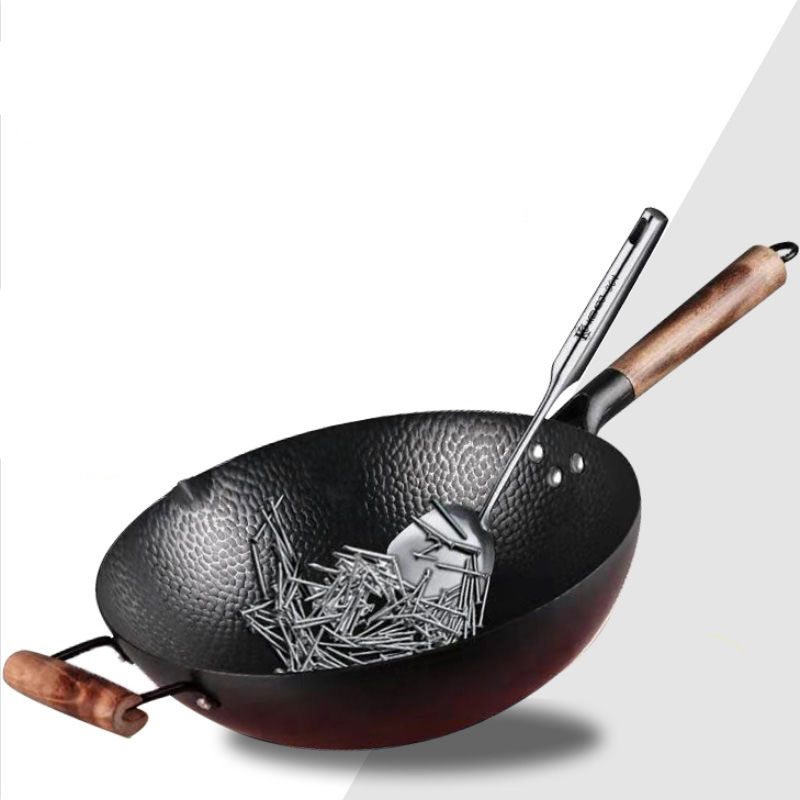 Old-Fashioned Hand-Forged Iron Non-Stick Wok Pan 4