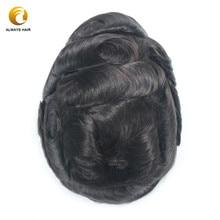 Línea del cabello Invisible de encaje francés de reemplazo de cabello para hombres nudos blanqueados 6 pulgadas Estilo libre de cabello de encaje de los hombres peluquín de cabello humano indio