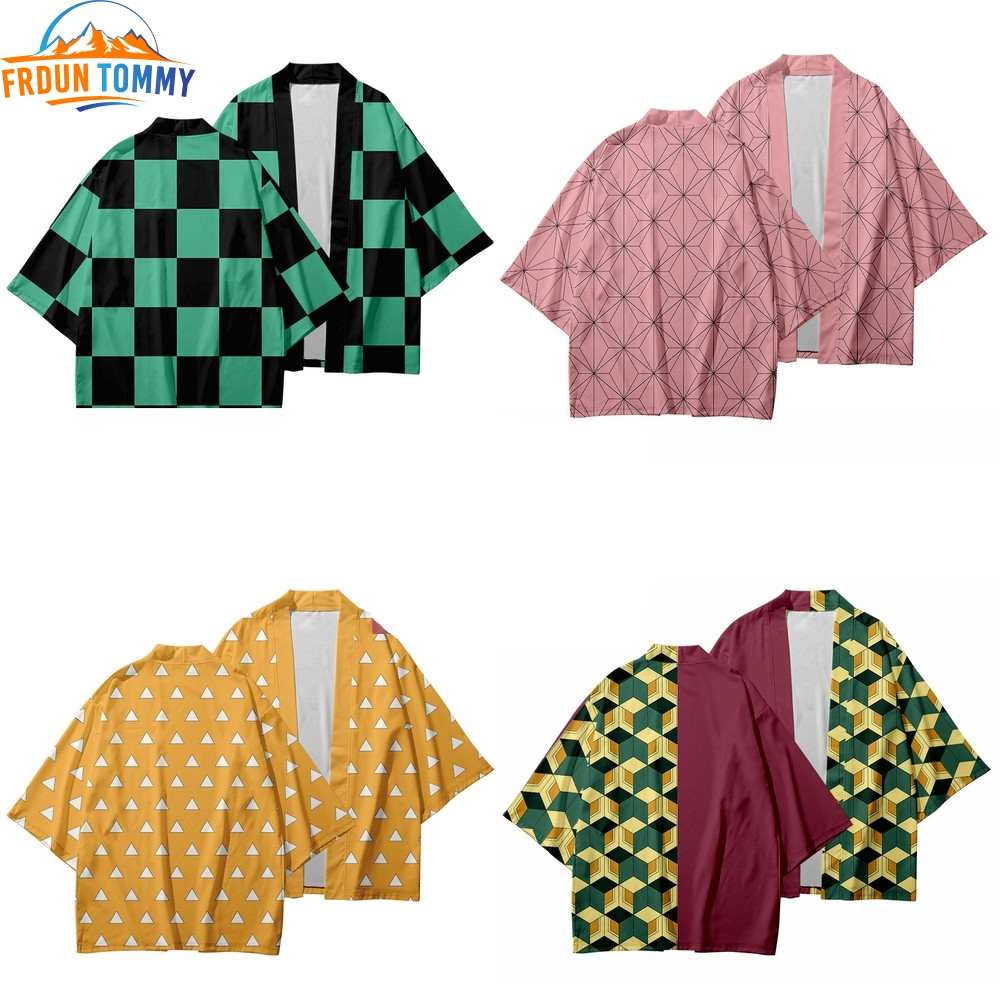 Anime Kimono Demon Slayer Kimetsu Design Kimono Haori Yukata Cosplay Women/Men Kimetsu No Yaiba Summer Casual Cool Clothes
