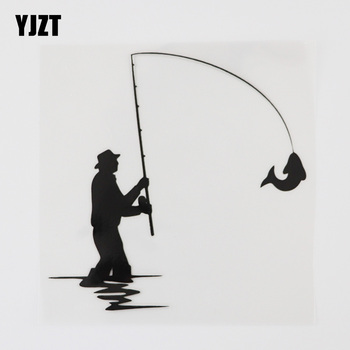YJZT 12.6CMX12.6CM Fishing Rod Club Fisherman Decal Vinyl Car Sticker Black/Silver 8A-0949 image