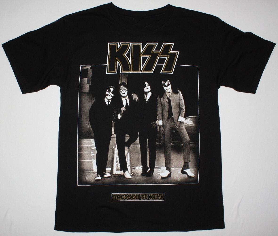 KISS DRESSED TO KILL BLACK <font><b>T</b></font> <font><b>SHIRT</b></font> HARD N HEAVY GLAM ROCK ACE FREHLEY <font><b>RATT</b></font> Man Print <font><b>T</b></font>-<font><b>Shirt</b></font> Hipster top tee image