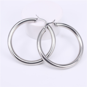 Stainless Steel Hoop Earrings Earrings Jewelry Women Jewelry Metal Color: Steel 50MM Round