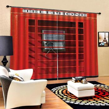 red window 3D Curtain Luxury Blackout Window Curtain Living Room Decoration curtains