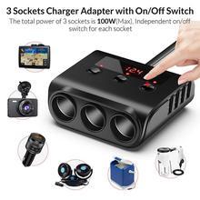 محول سيارة USB ، 12 24 فولت ، 100 واط ، TR12 ، مفتاح طاقة مستقل ، شاشة LED ، شاحن عالمي 4 منافذ ، 3600mA