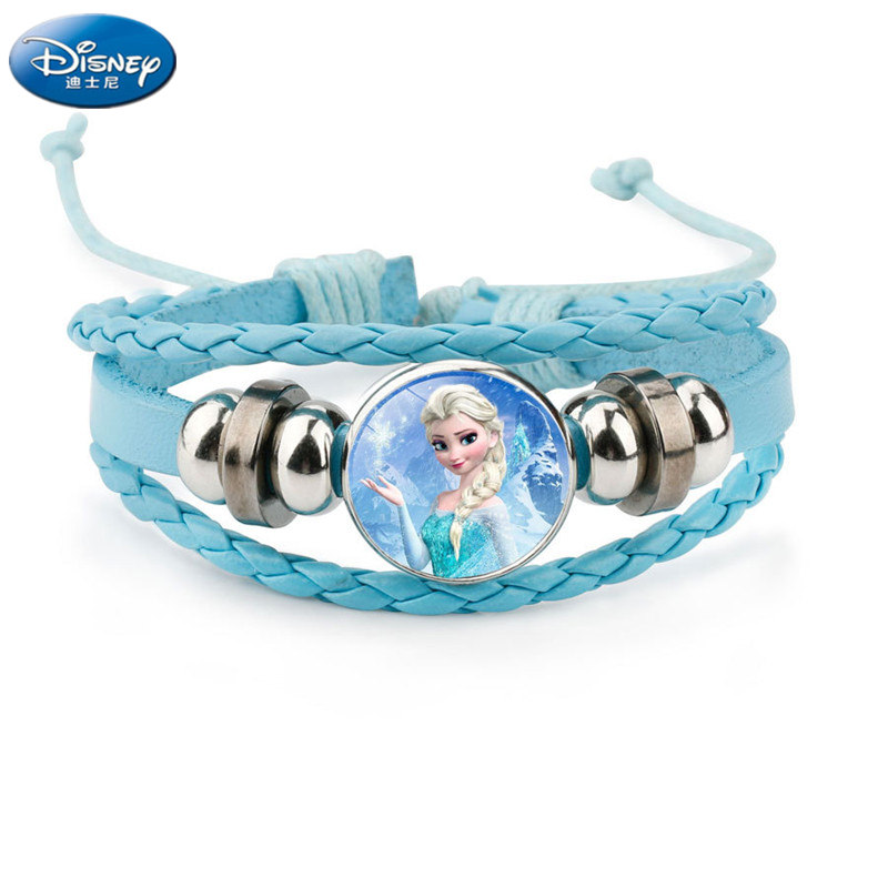 Disney New color Beaded Bracelet frozen Elsa Anna cartoon Princess bracelet doll accessories bangle kid jewelry toy girl gift
