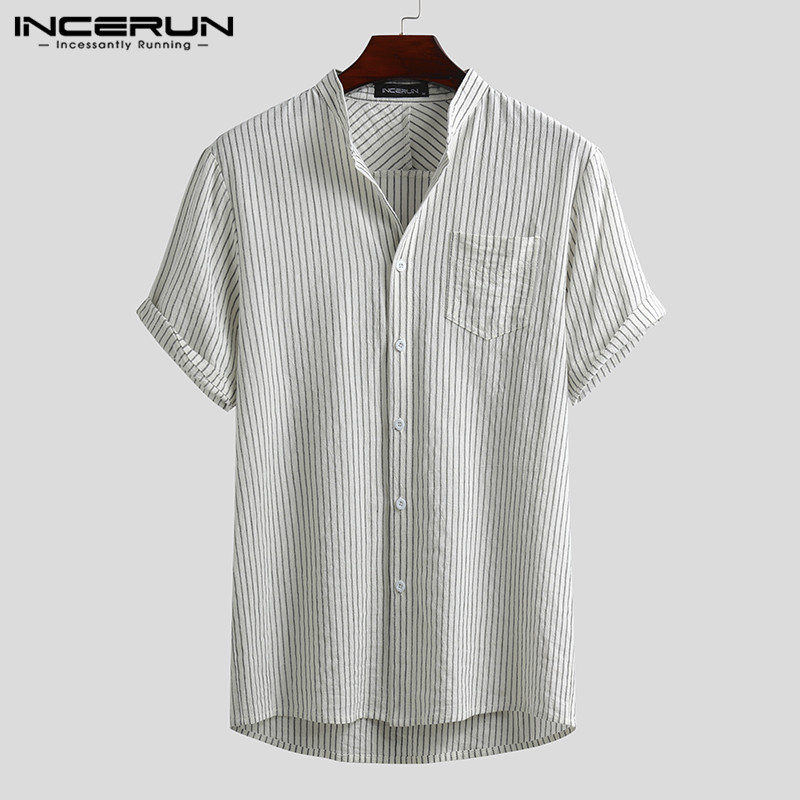 INCERUN <font><b>Mens</b></font> <font><b>Striped</b></font> <font><b>Shirts</b></font> <font><b>Short</b></font> <font><b>Sleeve</b></font> Stand Collar Blusas Cotton Breathable Buttons Camisa Harajuku Buttons Blouse Plus Size image
