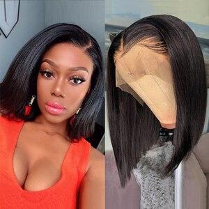 Парик Из прямых человеческих волос, 13 х4, для чернокожих женщин