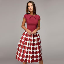 Vintage Dresses Woman Party Dresses Nice Summer Autumn New Elegant Dresses Holiday Female Dresses Stitching Beach Party Dress(China)