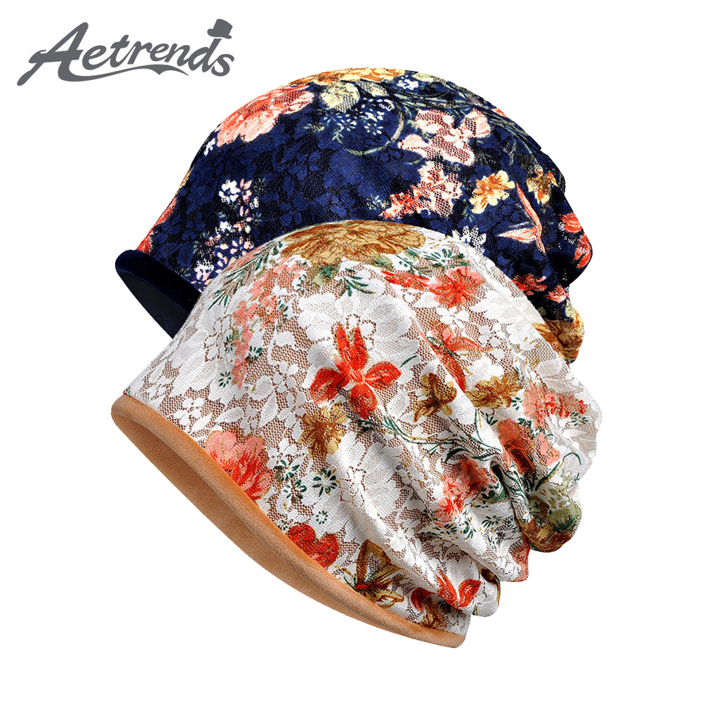 [AETRENDS] Lace Beanies Floral Hats For Women Female Slouch Caps Beanie Hat Z-5346