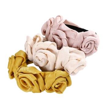 Haimeikang Flower Hairbands for Women Bezel Satin Headbands Solid Color Head Bands Autumn Hair Accessories