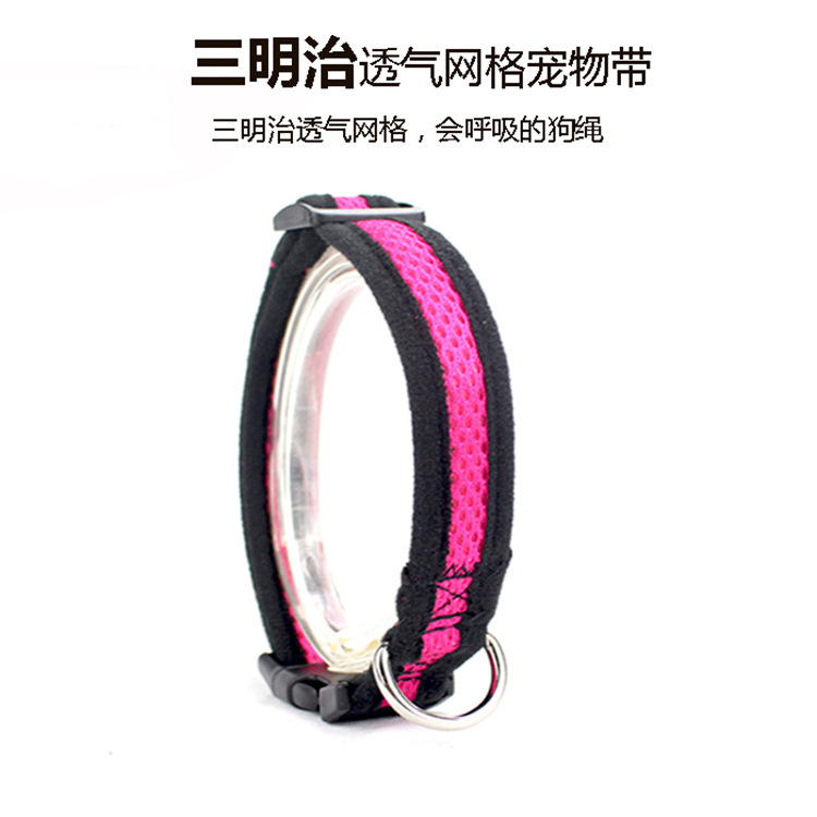 New Style Medium Small Dogs Adjustable Comfortable Sandwiches Breathable Poodle Dog Collar Pink