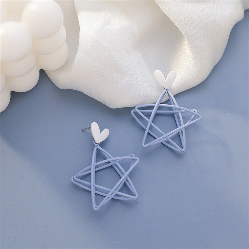 Sweety Star Korean Earrings Hollow Out Star серьги 2020 тренд Metal Blue Women Dangler Earrings Statement Drop Earrings Eardrop