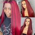 Красный Цветной 13X4 Синтетические волосы на кружеве парики из натуральных волос для Для женщин 180% эффектом деграде (переход от темного к кра...