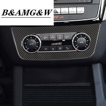 цена на Car Carbon Fiber Color Air Conditioning Adjustment Konb Frame Decoration Sticker Trim For Mercedes Benz ML X166 GL GLE W166 GLS