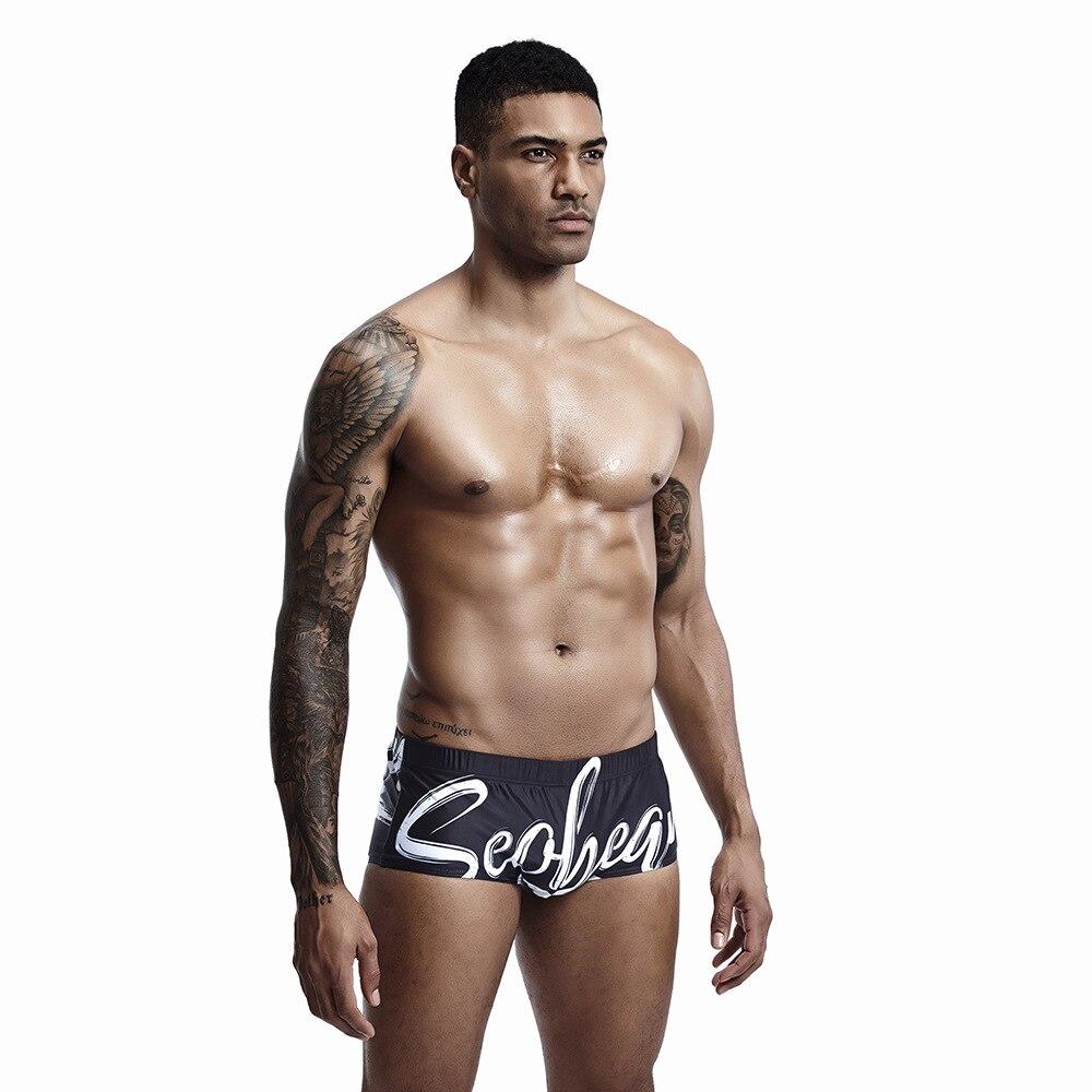 Seobean Swimwear Men Boxer-Shorts Man for Letter Printed Low-Waist Polyester Men's Plus-Size