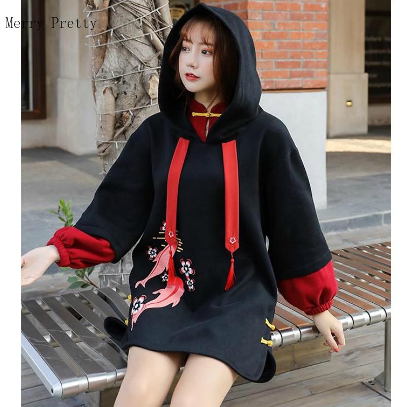 S-XL Black Harakuju Cartoon Printed Long Hoodies For Women Long Sleeve Cotton Hooded Sweatshirts Patchwork Drawstring Tracksuits