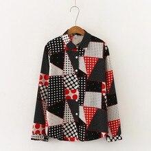 Женская блузка с цветными блоками, модная блузка с принтом, тонкая рубашка с длинным рукавом, Осенние блузки с отворотом, женская рубашка, топы, Новинка