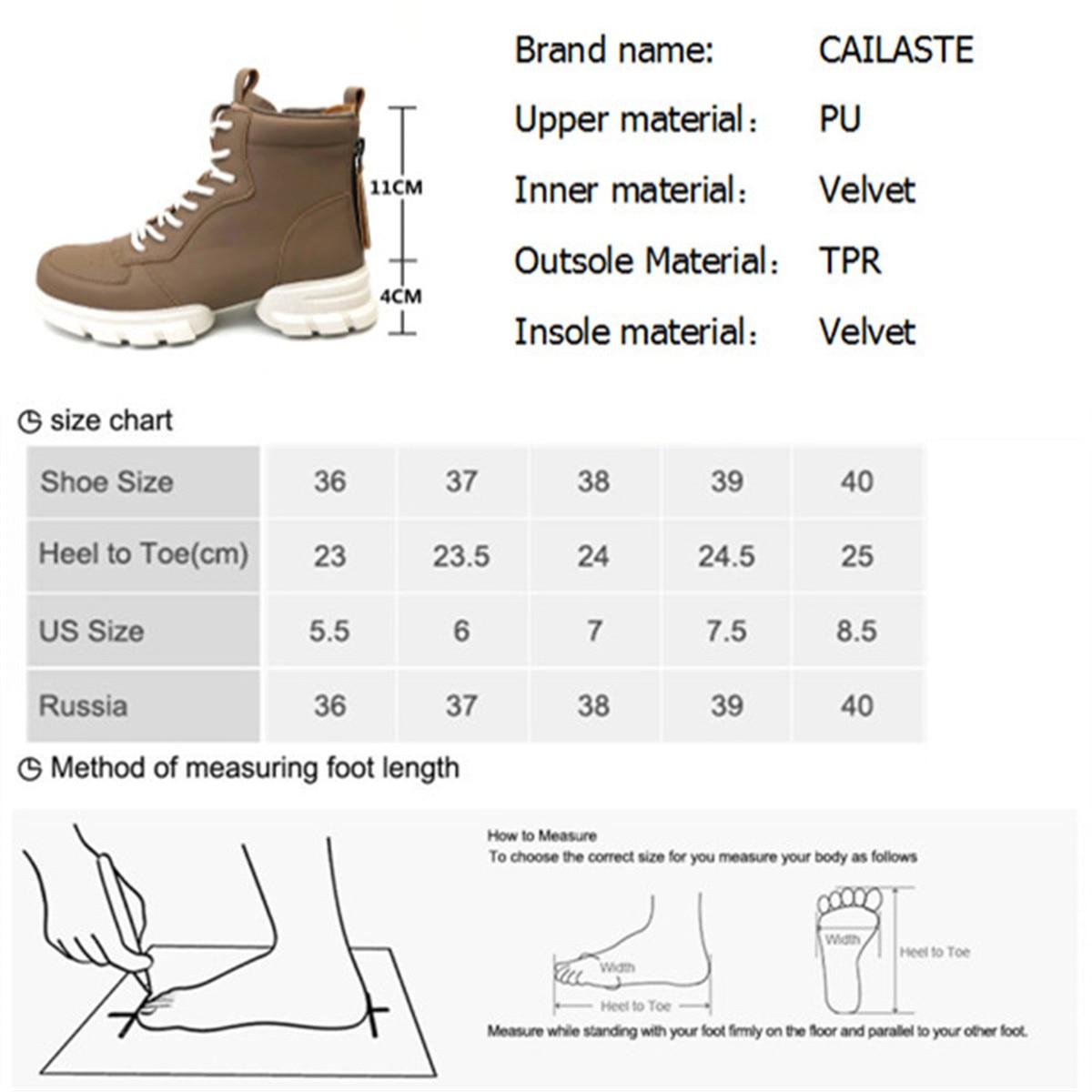 CAILASTE/женские кроссовки; ботинки со шнуровкой на молнии; ботинки шнурки для отдыха; обувь на платформе с бархатной стелькой; спортивные женск... - 2