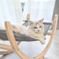 Pet Dog Cats Wooden Hammock Swing Soft Comfortable Sleeping Mat Cushion Durable Rocking Hanging Bed Pet Supplies