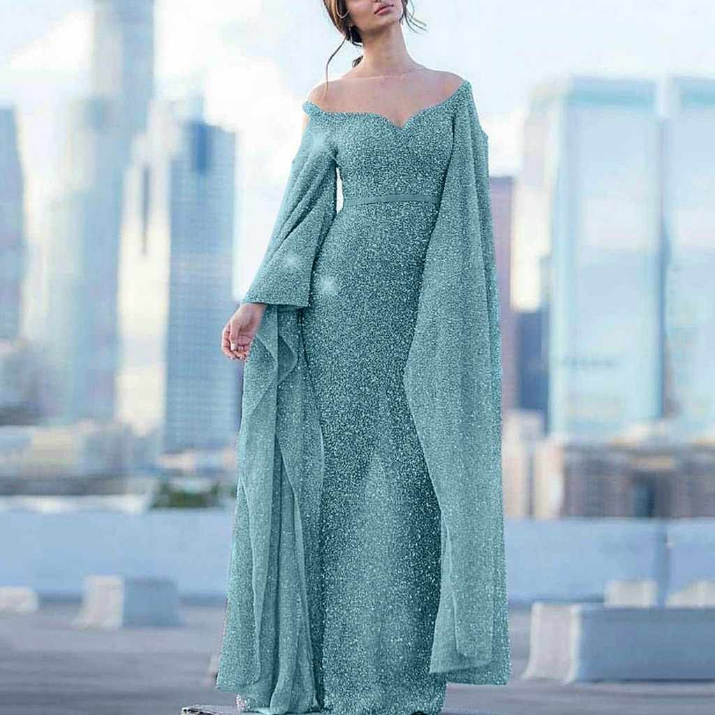 2019 New Style Fashion Elegant Women Sexy Boat Long Batwing Sleeve V-Neck Party Dress Formal Long Dress Sexy#g5