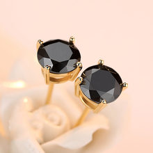 Luxury Female Small Black Round Earrings Cute Boho Yellow Gold Stud Earrings Fashion Zircon Stone Wedding Earrings For Women(China)