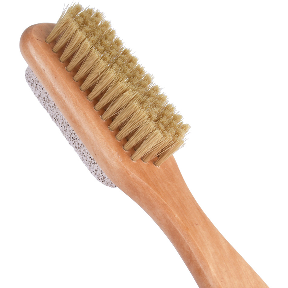 Natural Bristle Foot Brush Pumice Stone Combo W Rope Wooden Handle