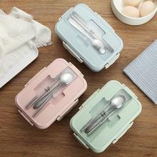 Ланч-бокс контейнер для еды Bento Box с подогревом ланчбокс для детей ланчбокс для закусок соломинка Пшеница корейский герметичный студенческий пластиковый ящик для еды