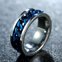 Blue Man Stainless Steel Chain Rotating Ring Men Rotary Wedding Rings Size 6-12 Trendy Black/Gold/ Silver Color 5 Metal Knuckle