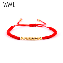 WML women bracelet lucky girl gift 4mm copper bead charms red rope braided Macrame bracelets & bangles for jewelry