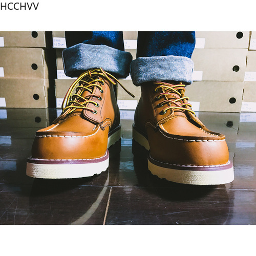 Handmade High Quality Fashion Genuine Leather Men Ankle Boots Outdoor Wings Motorcycle Boots Lace-up Work Men's Shoes Red Brown