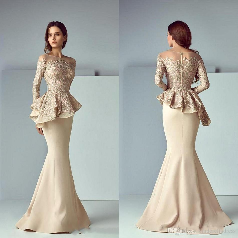 Vestido Novia Long Sleeve Ruffles Floor Length Groom Evening Party Prom Gown 2018 Champagne Mermaid Lace Mother Of Bride Dresses