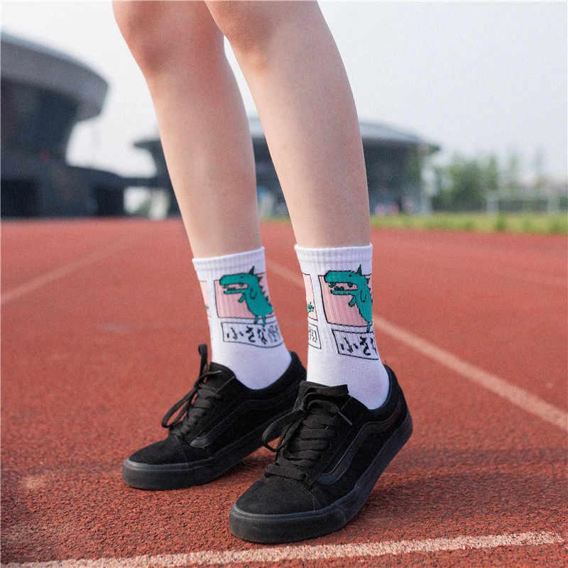 Japan Harajuku Vrouwen Leuke Cartoon Dier Hond Dinosaurus Kat Katoenen Sokken Lange Winter Sokken Vrouwen Winter Sokken Mannen sokken Katoen