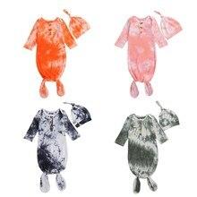 Newborn Baby Girls Boys Sleeping Bags+Hats 2pcs Tie-Dye Printed Long Sleeve Blanket 4 Colors