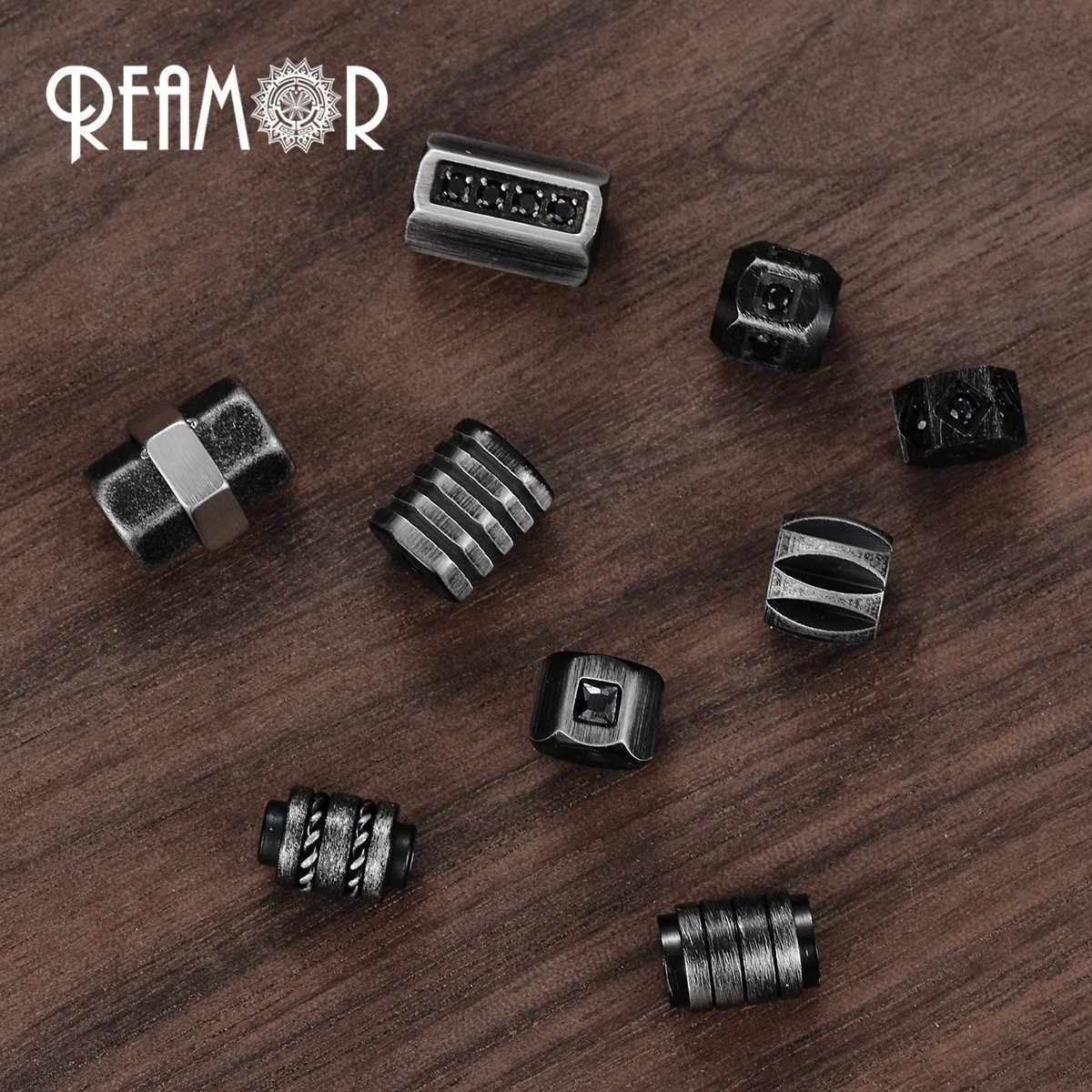 REAMOR 산업 스타일 남자 팔찌 분리형 걸쇠와 스테인레스 스틸 CNC 블랙 커넥터 팔찌 멋진 소년 선물 쥬얼리