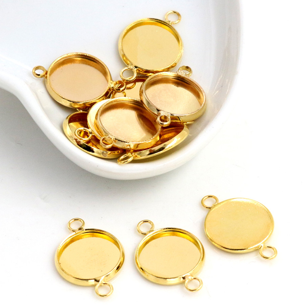 16pcs 12mm Inner Size Gold Color Plated Brass Material Simple Style Cabochon Base Cameo Setting Charms Pendant Tray (A1-24)